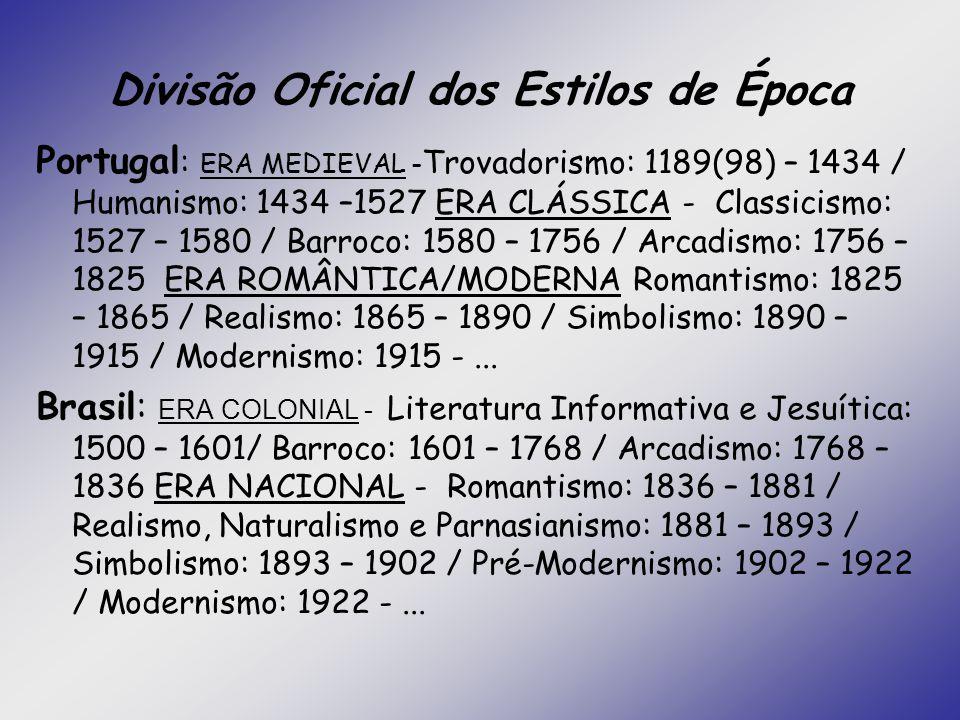Divisão Oficial dos Estilos de Época Portugal : ERA MEDIEVAL - Trovadorismo: 1189(98) – 1434 / Humanismo: 1434 –1527 ERA CLÁSSICA - Classicismo: 1527
