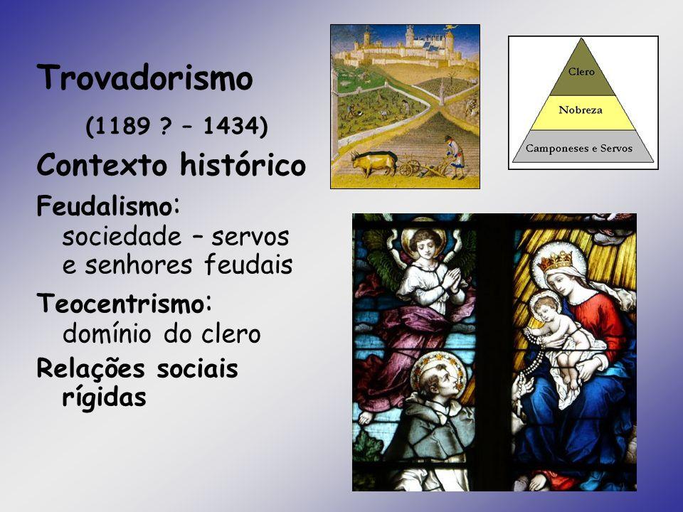 Trovadorismo (1189 ? – 1434) Contexto histórico Feudalismo : sociedade – servos e senhores feudais Teocentrismo : domínio do clero Relações sociais rí