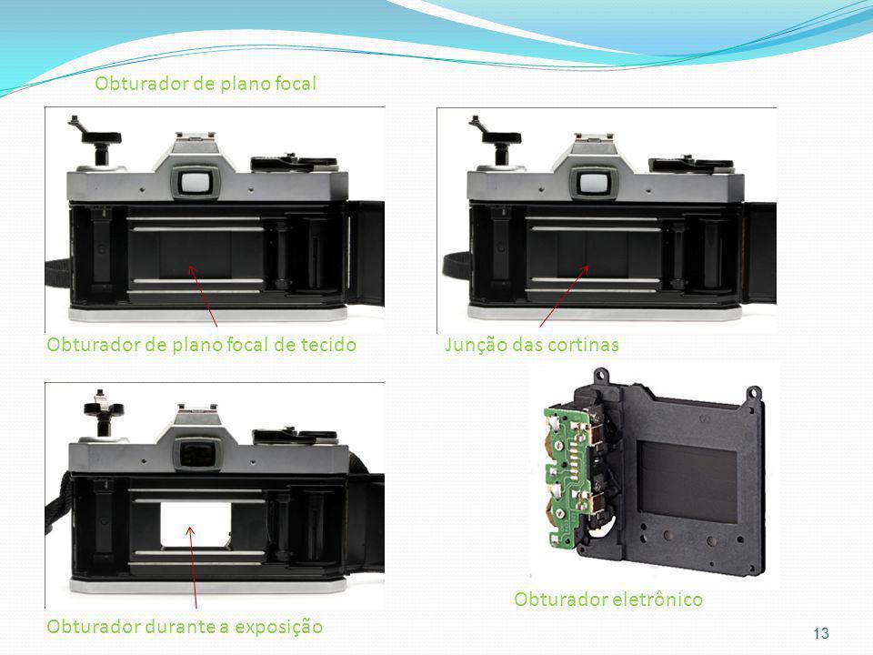 13 Obturador de plano focal de tecidoJunção das cortinas Obturador durante a exposição Obturador de plano focal Obturador eletrônico