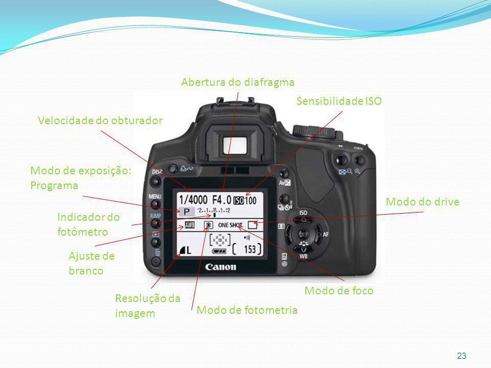 23 Velocidade do obturador Abertura do diafragma Sensibilidade ISO Indicador do fotômetro Modo de exposição: Programa Ajuste de branco Resolução da im