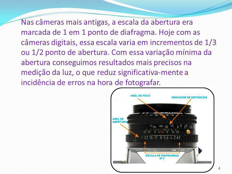 Nas câmeras mais antigas, a escala da abertura era marcada de 1 em 1 ponto de diafragma. Hoje com as câmeras digitais, essa escala varia em incremento