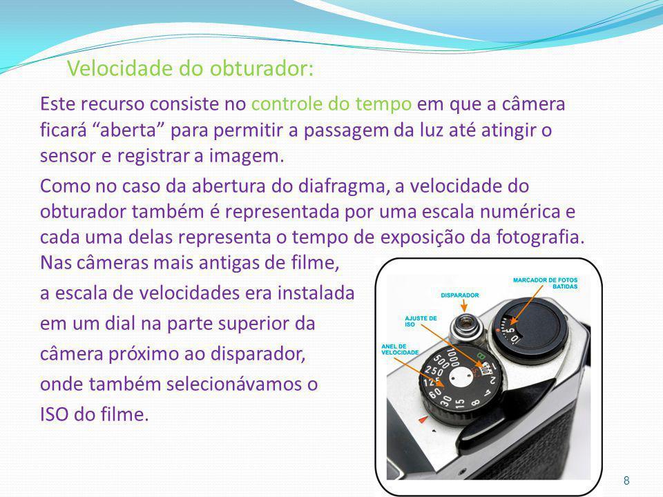 Velocidade do obturador: Este recurso consiste no controle do tempo em que a câmera ficará aberta para permitir a passagem da luz até atingir o sensor