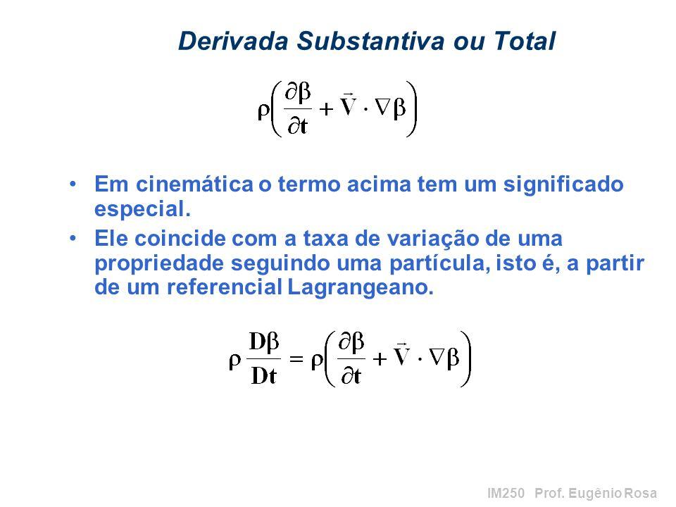 IM250 Prof. Eugênio Rosa Derivada Substantiva ou Total Em cinemática o termo acima tem um significado especial. Ele coincide com a taxa de variação de