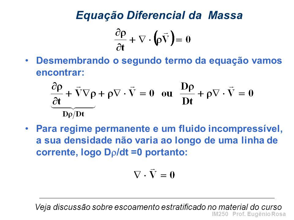 IM250 Prof. Eugênio Rosa Equação Diferencial da Massa Desmembrando o segundo termo da equação vamos encontrar: Para regime permanente e um fluido inco