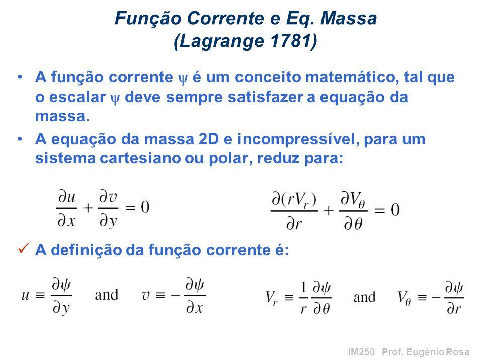 IM250 Prof. Eugênio Rosa Função Corrente e Eq. Massa (Lagrange 1781) A função corrente é um conceito matemático, tal que o escalar deve sempre satisfa