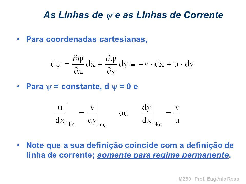 IM250 Prof. Eugênio Rosa As Linhas de e as Linhas de Corrente Para coordenadas cartesianas, Para = constante, d = 0 e Note que a sua definição coincid