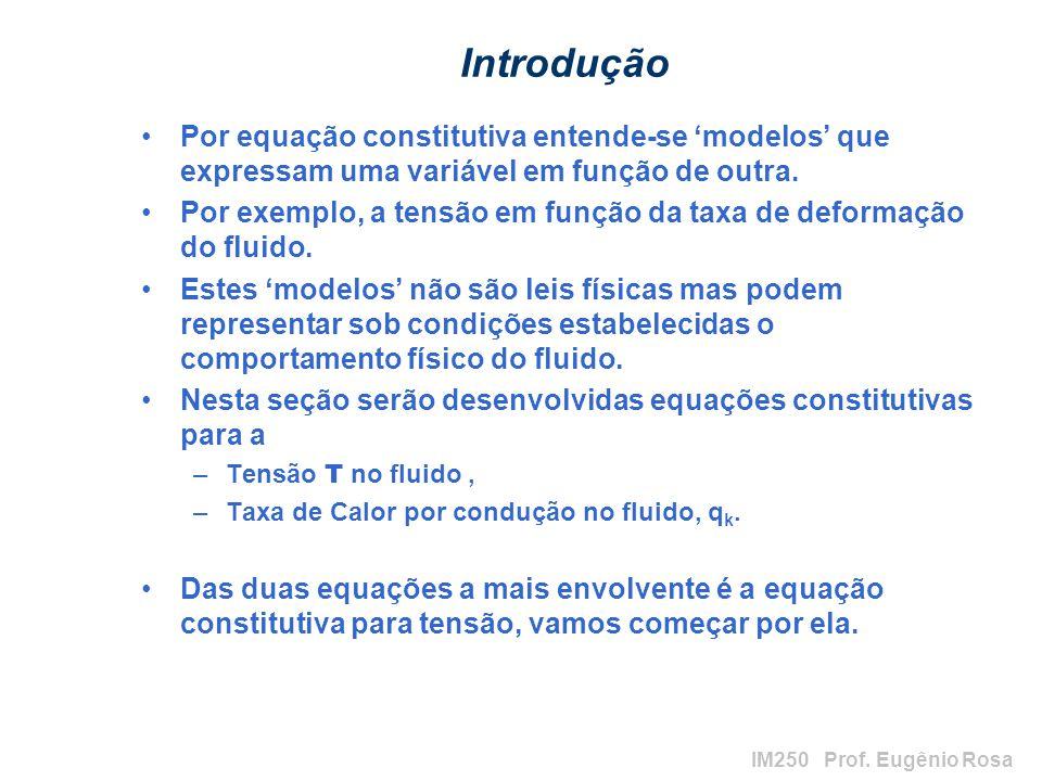IM250 Prof. Eugênio Rosa Introdução Por equação constitutiva entende-se modelos que expressam uma variável em função de outra. Por exemplo, a tensão e