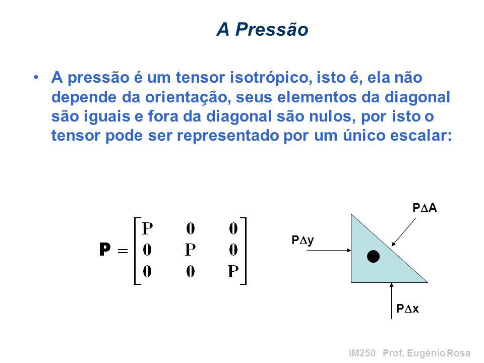 IM250 Prof. Eugênio Rosa A Pressão A pressão é um tensor isotrópico, isto é, ela não depende da orientação, seus elementos da diagonal são iguais e fo