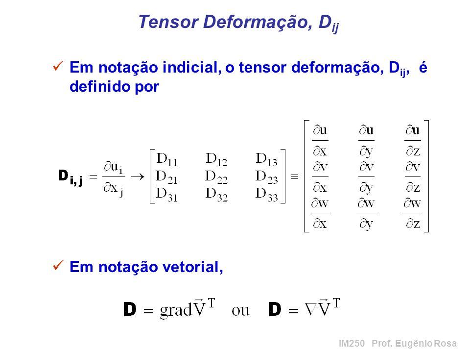 IM250 Prof. Eugênio Rosa Tensor Deformação, D ij Em notação indicial, o tensor deformação, D ij, é definido por Em notação vetorial,