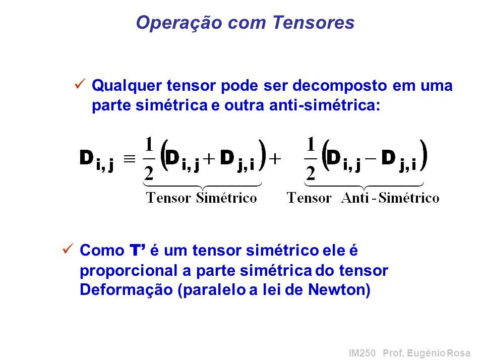 IM250 Prof. Eugênio Rosa Operação com Tensores Qualquer tensor pode ser decomposto em uma parte simétrica e outra anti-simétrica: Como T é um tensor s