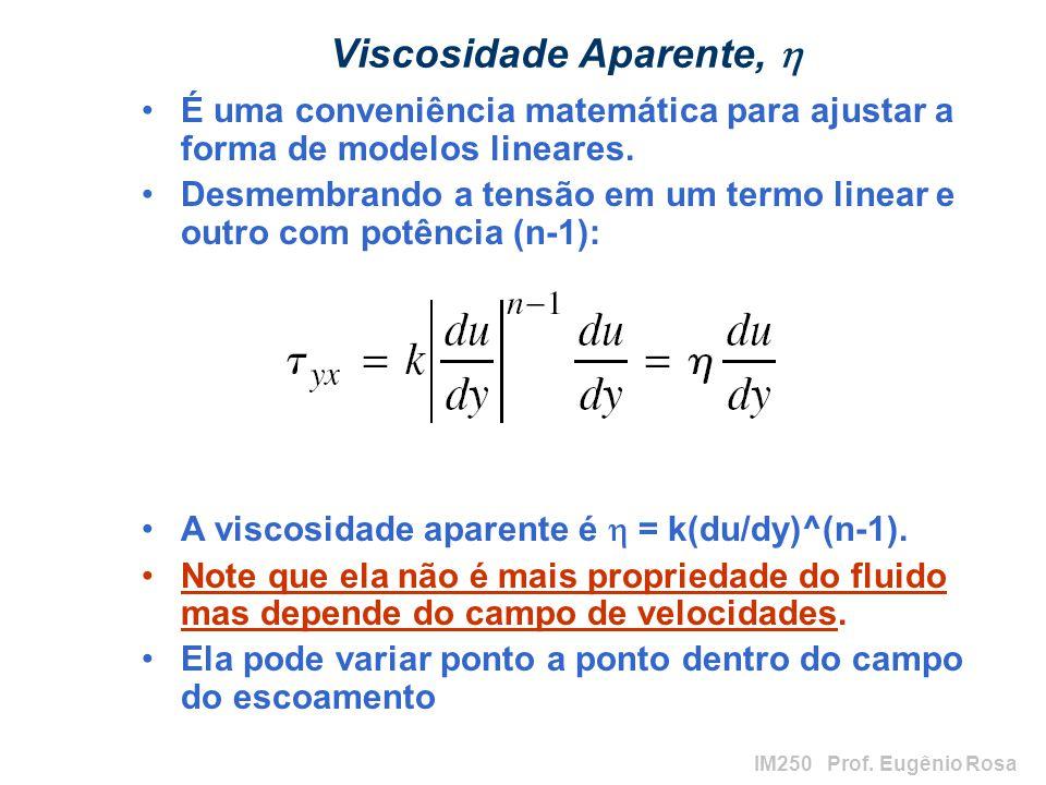 IM250 Prof. Eugênio Rosa Viscosidade Aparente, É uma conveniência matemática para ajustar a forma de modelos lineares. Desmembrando a tensão em um ter