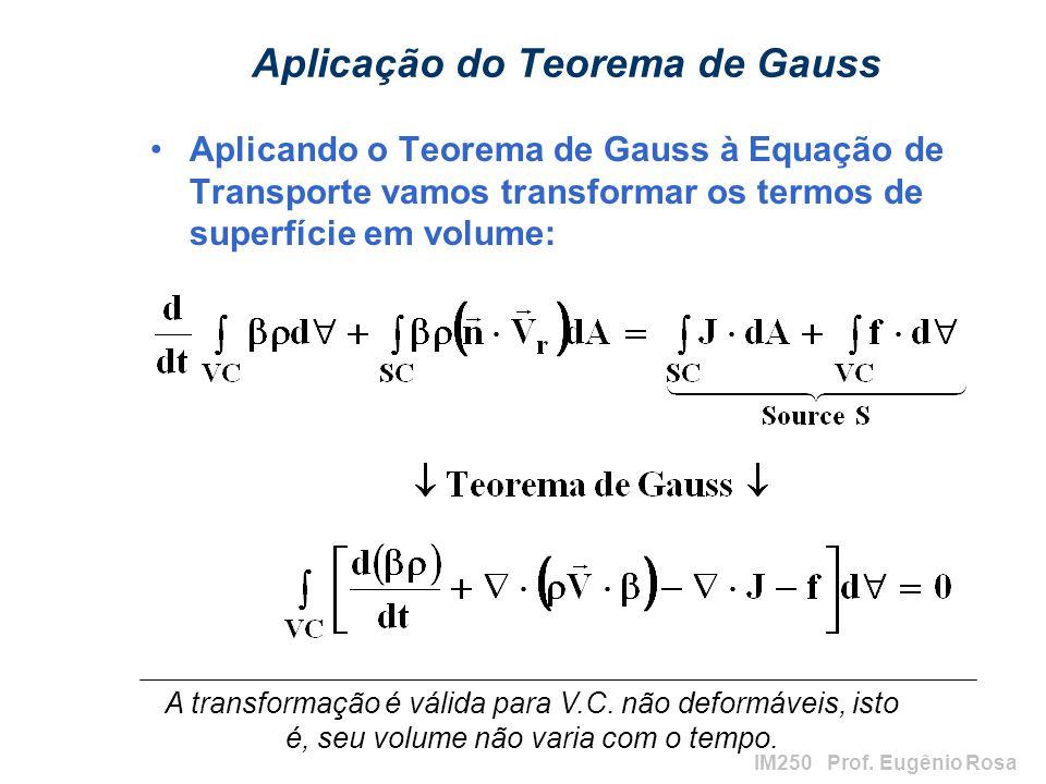 IM250 Prof. Eugênio Rosa Aplicação do Teorema de Gauss Aplicando o Teorema de Gauss à Equação de Transporte vamos transformar os termos de superfície