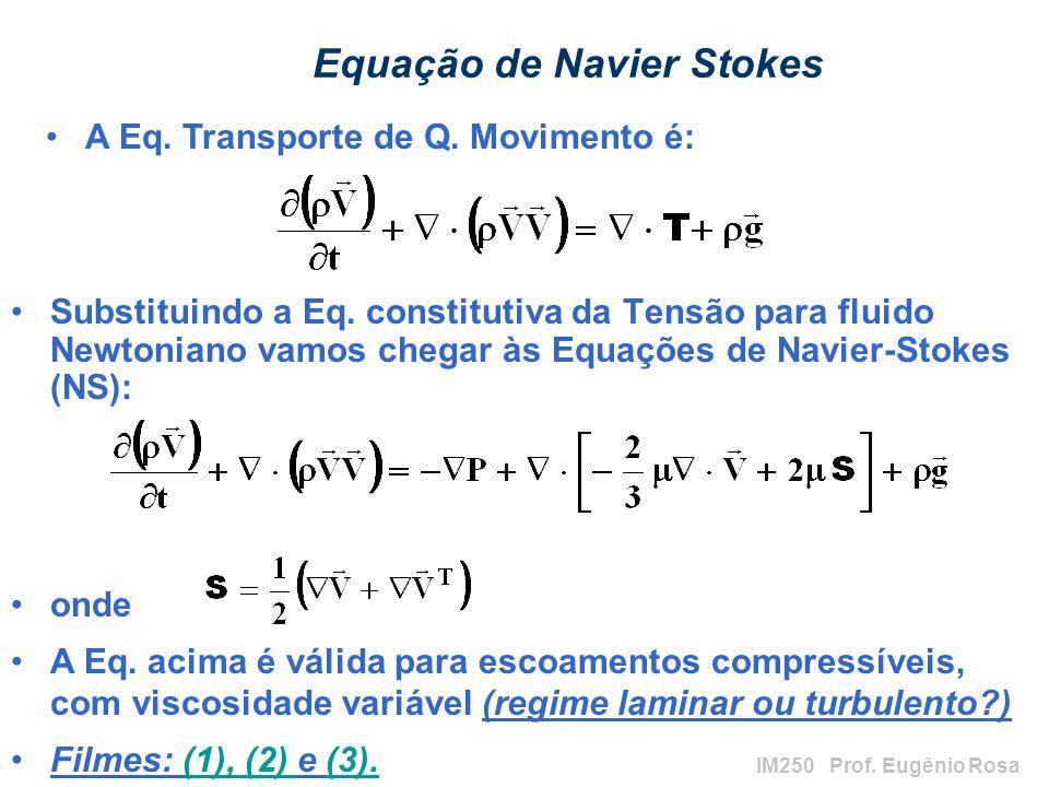 IM250 Prof. Eugênio Rosa Equação de Navier Stokes Substituindo a Eq. constitutiva da Tensão para fluido Newtoniano vamos chegar às Equações de Navier-