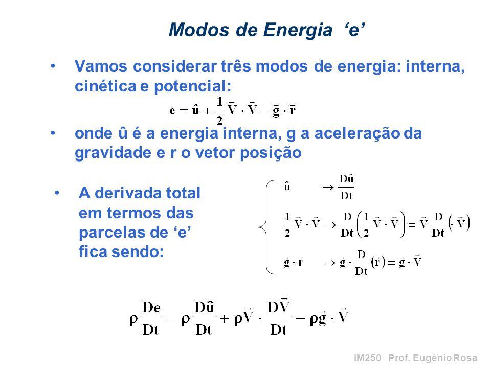 IM250 Prof. Eugênio Rosa Modos de Energia e Vamos considerar três modos de energia: interna, cinética e potencial: onde û é a energia interna, g a ace