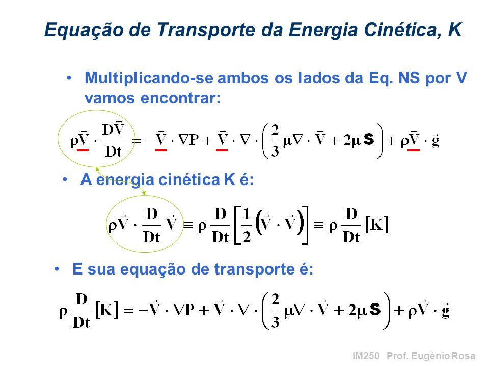 IM250 Prof. Eugênio Rosa Equação de Transporte da Energia Cinética, K Multiplicando-se ambos os lados da Eq. NS por V vamos encontrar: A energia cinét