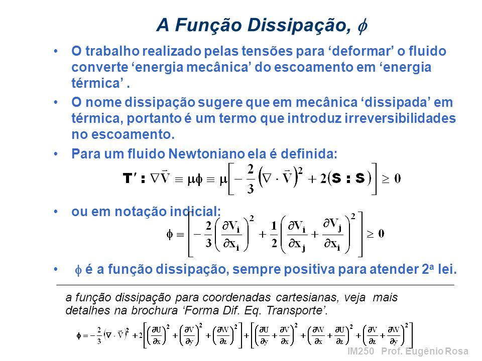IM250 Prof. Eugênio Rosa A Função Dissipação, O trabalho realizado pelas tensões para deformar o fluido converte energia mecânica do escoamento em ene