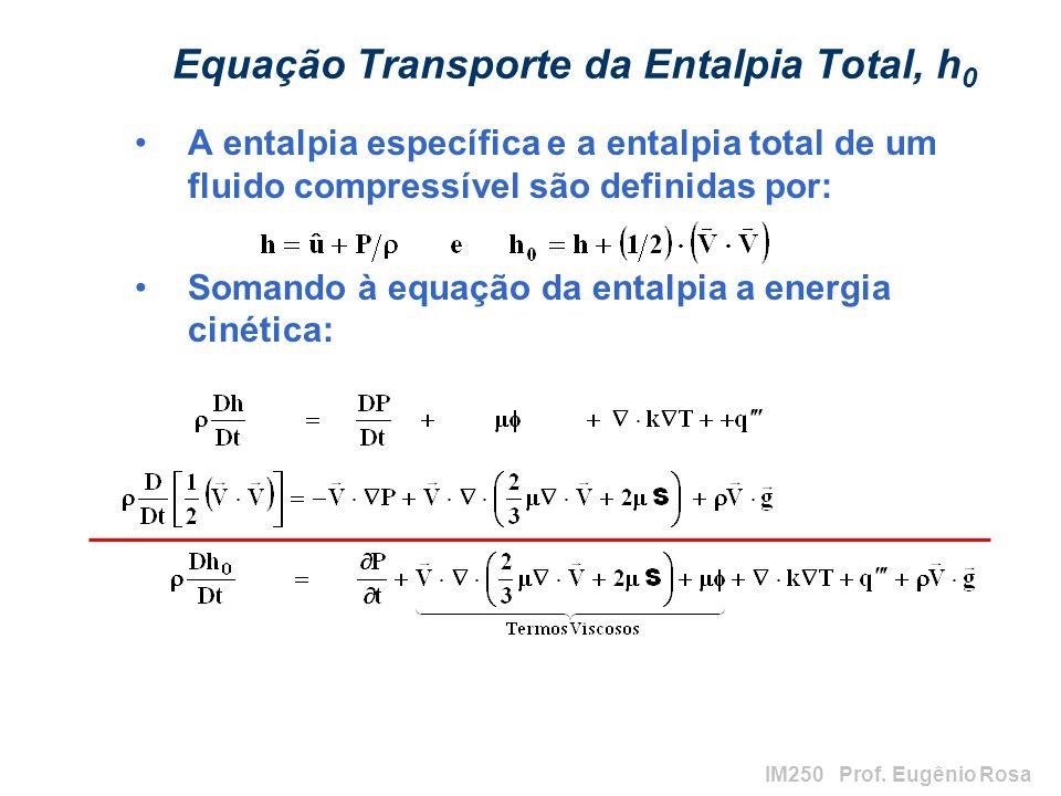 IM250 Prof. Eugênio Rosa Equação Transporte da Entalpia Total, h 0 A entalpia específica e a entalpia total de um fluido compressível são definidas po