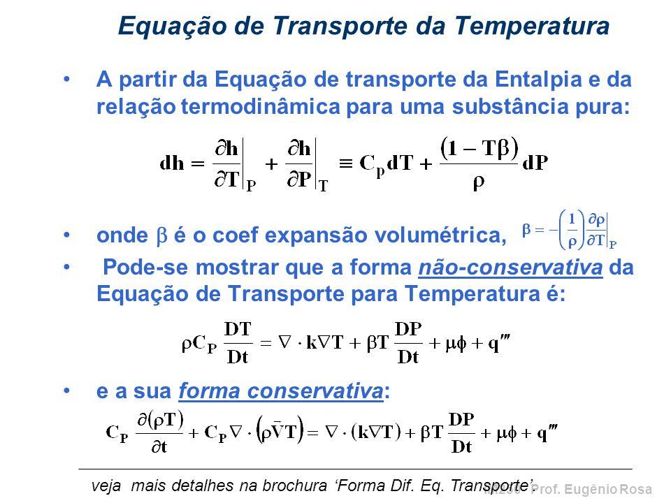 IM250 Prof. Eugênio Rosa Equação de Transporte da Temperatura A partir da Equação de transporte da Entalpia e da relação termodinâmica para uma substâ