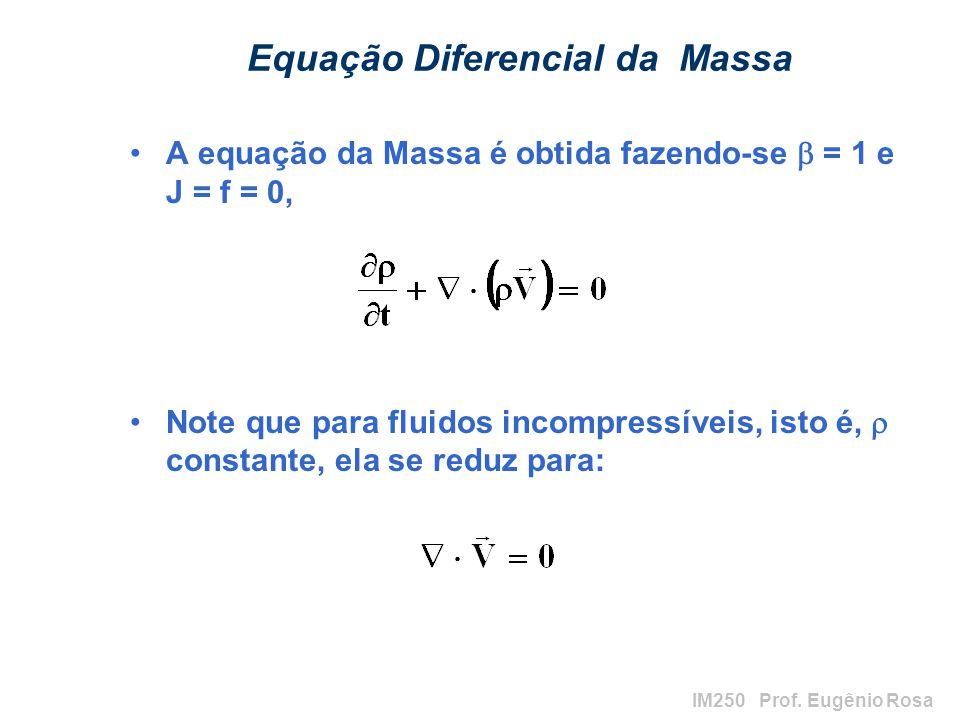 IM250 Prof. Eugênio Rosa Equação Diferencial da Massa A equação da Massa é obtida fazendo-se = 1 e J = f = 0, Note que para fluidos incompressíveis, i