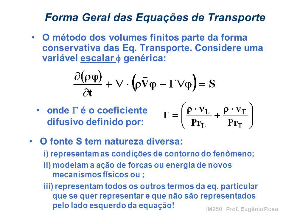 IM250 Prof. Eugênio Rosa Forma Geral das Equações de Transporte O método dos volumes finitos parte da forma conservativa das Eq. Transporte. Considere