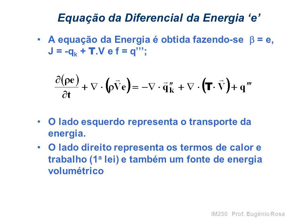 IM250 Prof. Eugênio Rosa Equação da Diferencial da Energia e A equação da Energia é obtida fazendo-se = e, J = -q k + T.V e f = q; O lado esquerdo rep