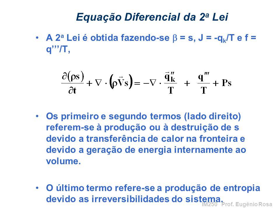 IM250 Prof. Eugênio Rosa Equação Diferencial da 2 a Lei A 2 a Lei é obtida fazendo-se = s, J = -q k /T e f = q/T, Os primeiro e segundo termos (lado d