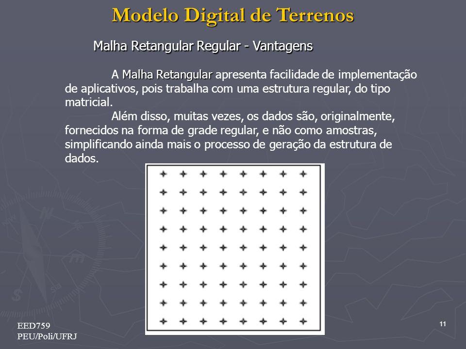 Modelo Digital de Terrenos 11 EED759 PEU/Poli/UFRJ Malha Retangular A Malha Retangular apresenta facilidade de implementação de aplicativos, pois trab