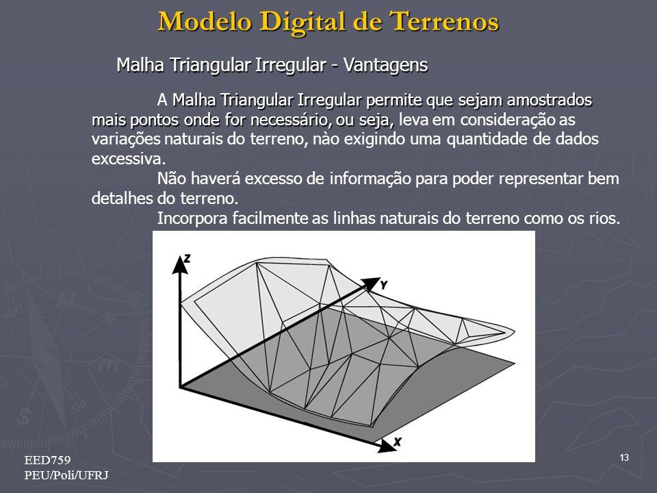 Modelo Digital de Terrenos 13 EED759 PEU/Poli/UFRJ Malha Triangular Irregular - Vantagens Malha Triangular Irregular permite que sejam amostrados mais