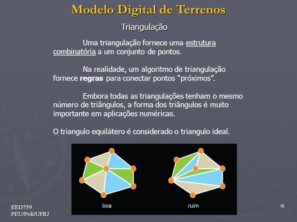 Modelo Digital de Terrenos 16 EED759 PEU/Poli/UFRJ Triangulação Uma triangulação fornece uma estrutura combinatória a um conjunto de pontos. Na realid