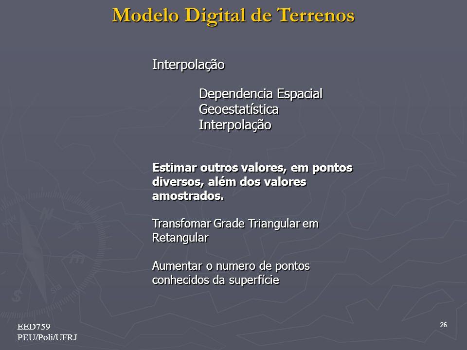 Modelo Digital de Terrenos 26 EED759 PEU/Poli/UFRJ Interpolação Dependencia Espacial GeoestatísticaInterpolação Estimar outros valores, em pontos dive