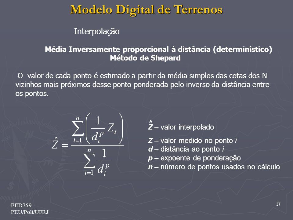 Modelo Digital de Terrenos 37 EED759 PEU/Poli/UFRJ Z – valor interpolado Z – valor medido no ponto i d – distância ao ponto i p – expoente de ponderaç