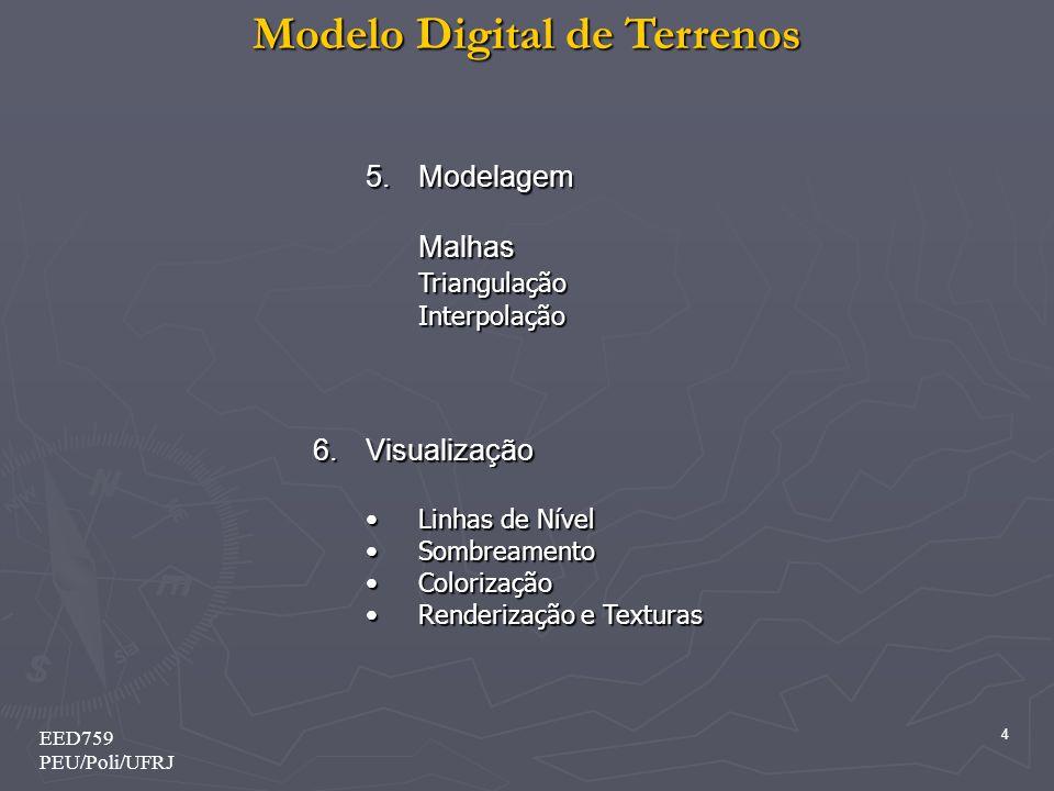Modelo Digital de Terrenos 4 EED759 PEU/Poli/UFRJ 5.Modelagem MalhasTriangulaçãoInterpolação 6.Visualização Linhas de NívelLinhas de Nível Sombreament