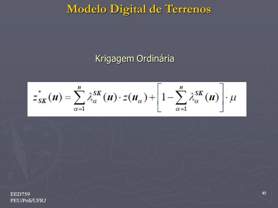 Modelo Digital de Terrenos 45 EED759 PEU/Poli/UFRJ Krigagem Ordinária