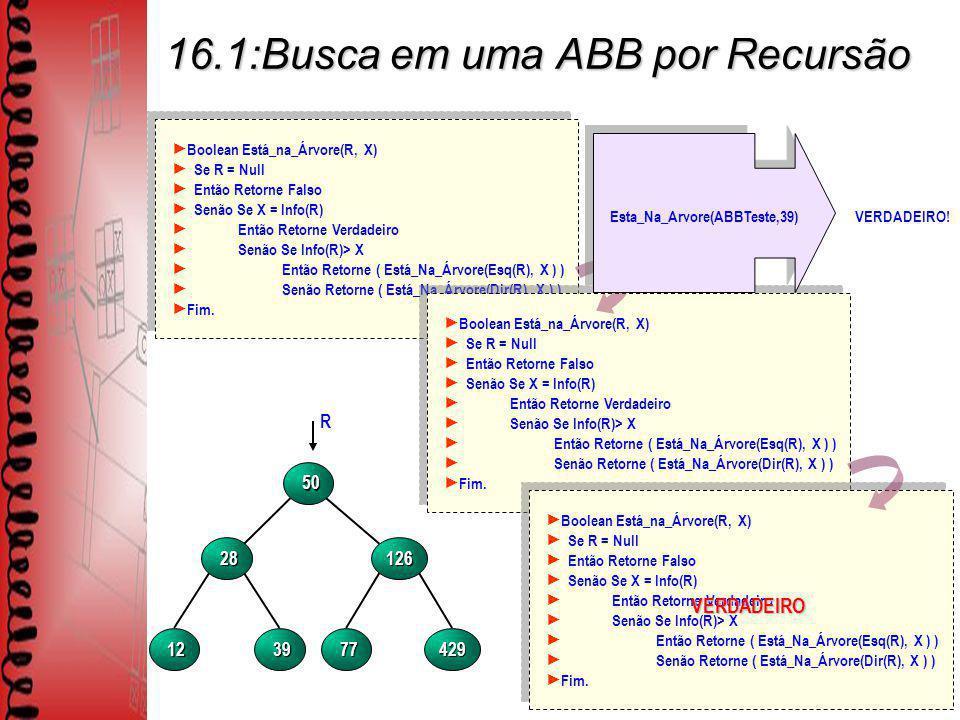 16.1:Busca em uma ABB por Recursão Boolean Está_na_Árvore(R, X) Se R = Null Então Retorne Falso Senão Se X = Info(R) Então Retorne Verdadeiro Senão Se Info(R)> X Então Retorne ( Está_Na_Árvore(Esq(R), X ) ) Senão Retorne ( Está_Na_Árvore(Dir(R), X ) ) Fim.
