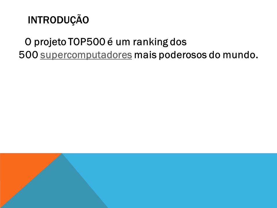 INTRODUÇÃO O projeto TOP500 é um ranking dos 500 supercomputadores mais poderosos do mundo.supercomputadores