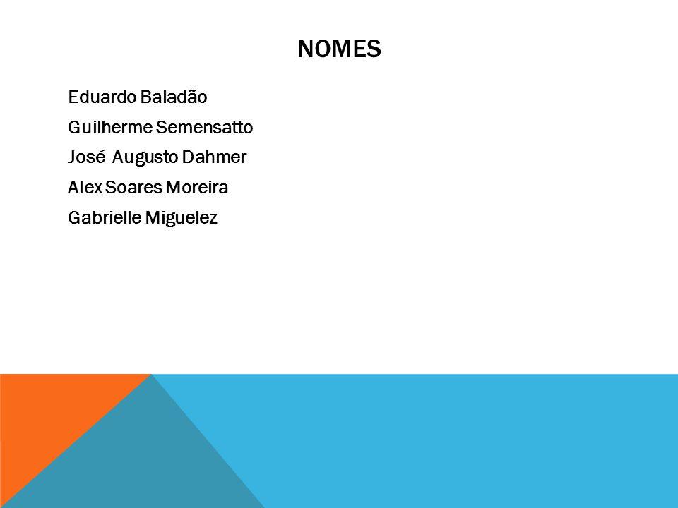 NOMES Eduardo Baladão Guilherme Semensatto José Augusto Dahmer Alex Soares Moreira Gabrielle Miguelez
