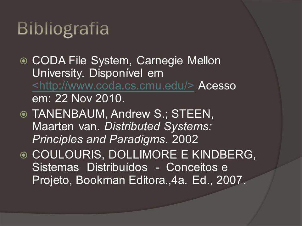 CODA File System, Carnegie Mellon University. Disponível em Acesso em: 22 Nov 2010.