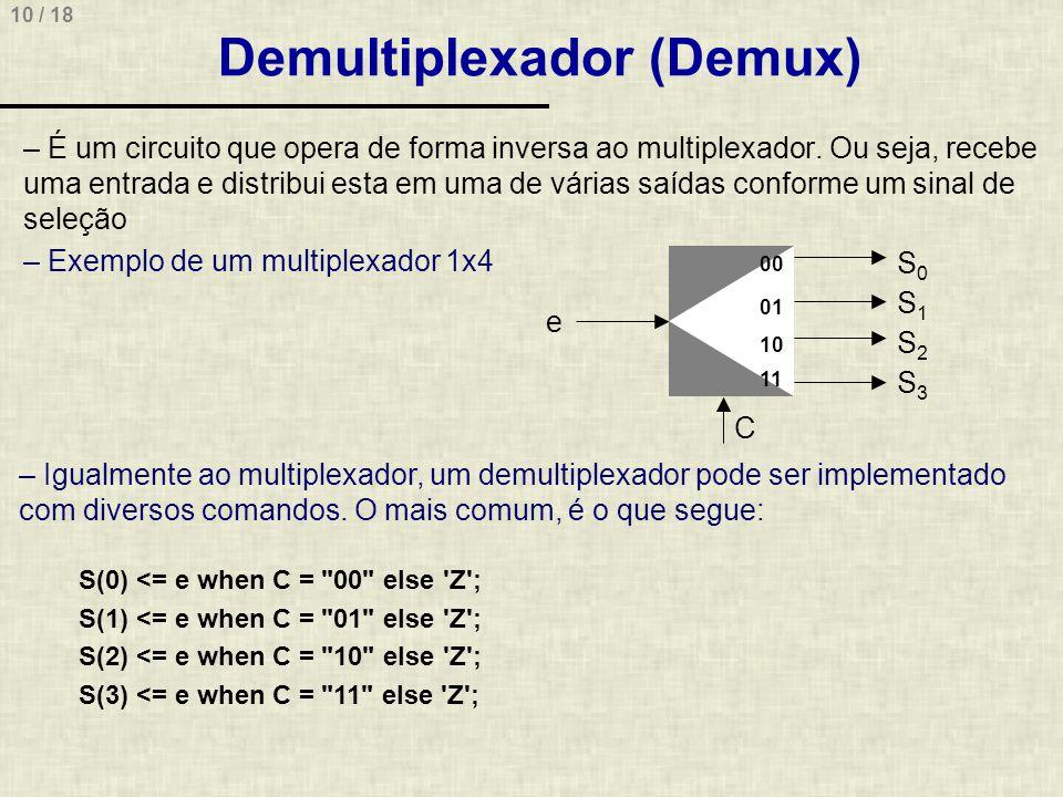 10 / 18 Demultiplexador (Demux) – É um circuito que opera de forma inversa ao multiplexador. Ou seja, recebe uma entrada e distribui esta em uma de vá