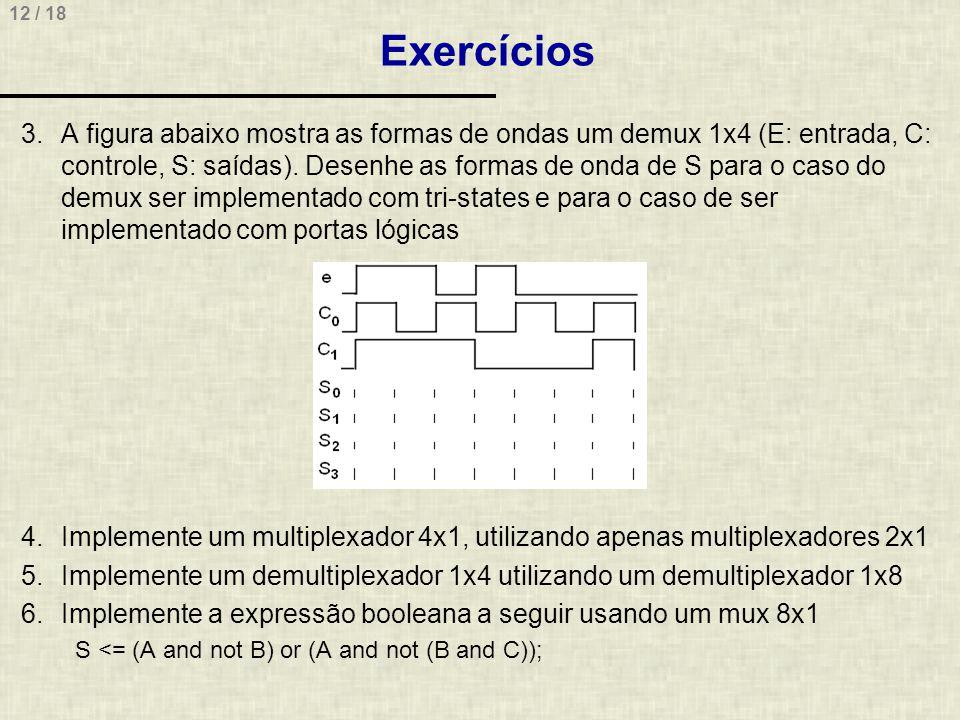 12 / 18 Exercícios 3.A figura abaixo mostra as formas de ondas um demux 1x4 (E: entrada, C: controle, S: saídas). Desenhe as formas de onda de S para
