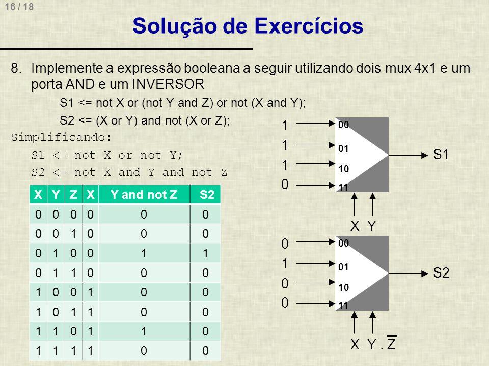 16 / 18 S1 1 1 X 1 0 Y Solução de Exercícios 8.Implemente a expressão booleana a seguir utilizando dois mux 4x1 e um porta AND e um INVERSOR S1 <= not