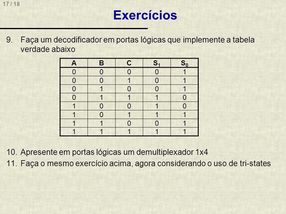 17 / 18 Exercícios 9.Faça um decodificador em portas lógicas que implemente a tabela verdade abaixo 10.Apresente em portas lógicas um demultiplexador