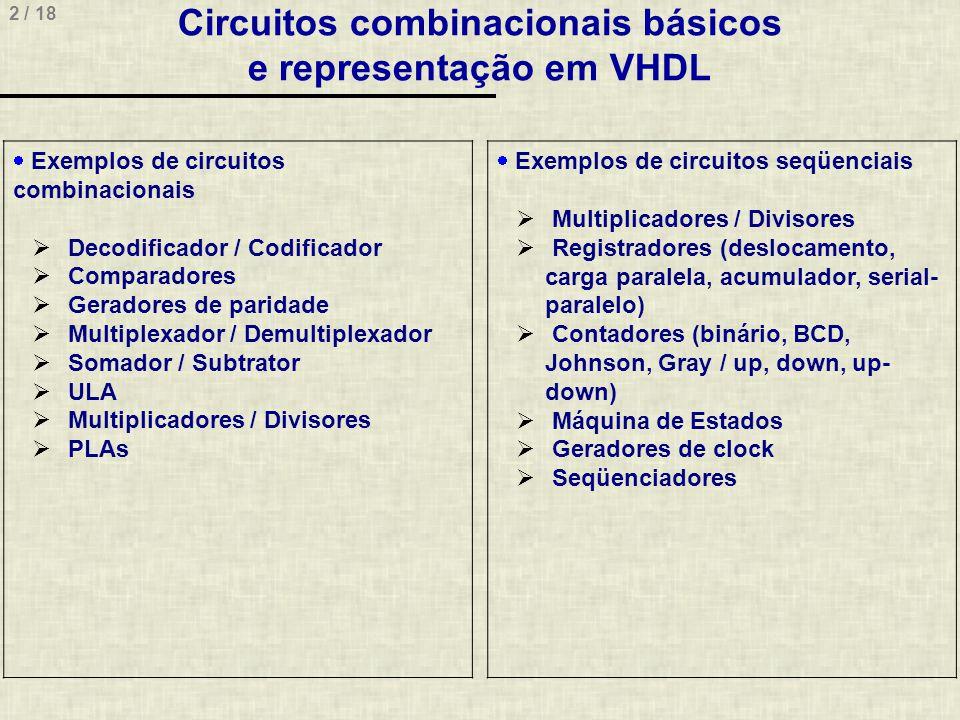 2 / 18 Circuitos combinacionais básicos e representação em VHDL Exemplos de circuitos combinacionais Decodificador / Codificador Comparadores Geradore