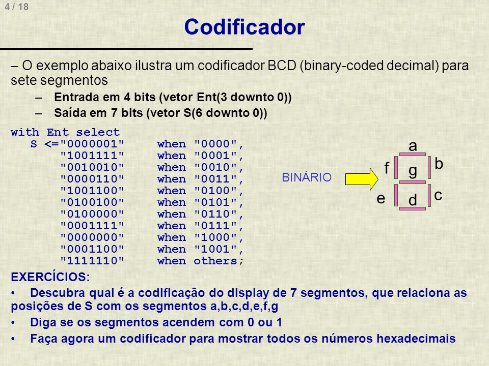 4 / 18 Codificador – O exemplo abaixo ilustra um codificador BCD (binary-coded decimal) para sete segmentos – Entrada em 4 bits (vetor Ent(3 downto 0)