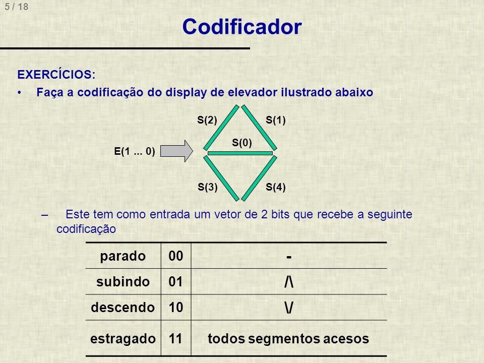 5 / 18 Codificador EXERCÍCIOS: Faça a codificação do display de elevador ilustrado abaixo –Este tem como entrada um vetor de 2 bits que recebe a segui