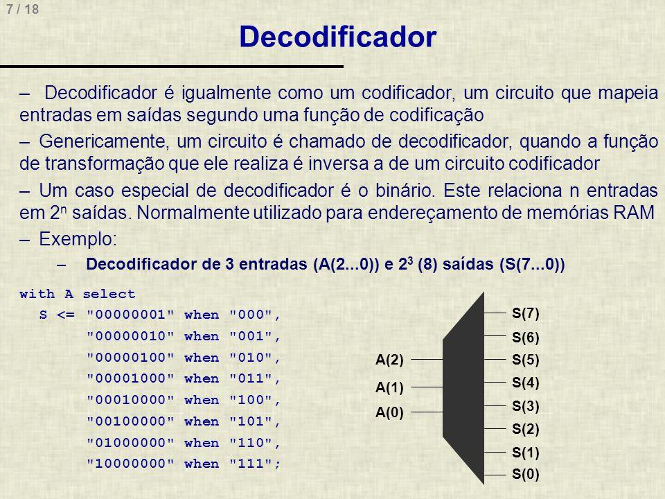 7 / 18 Decodificador – Decodificador é igualmente como um codificador, um circuito que mapeia entradas em saídas segundo uma função de codificação –Ge