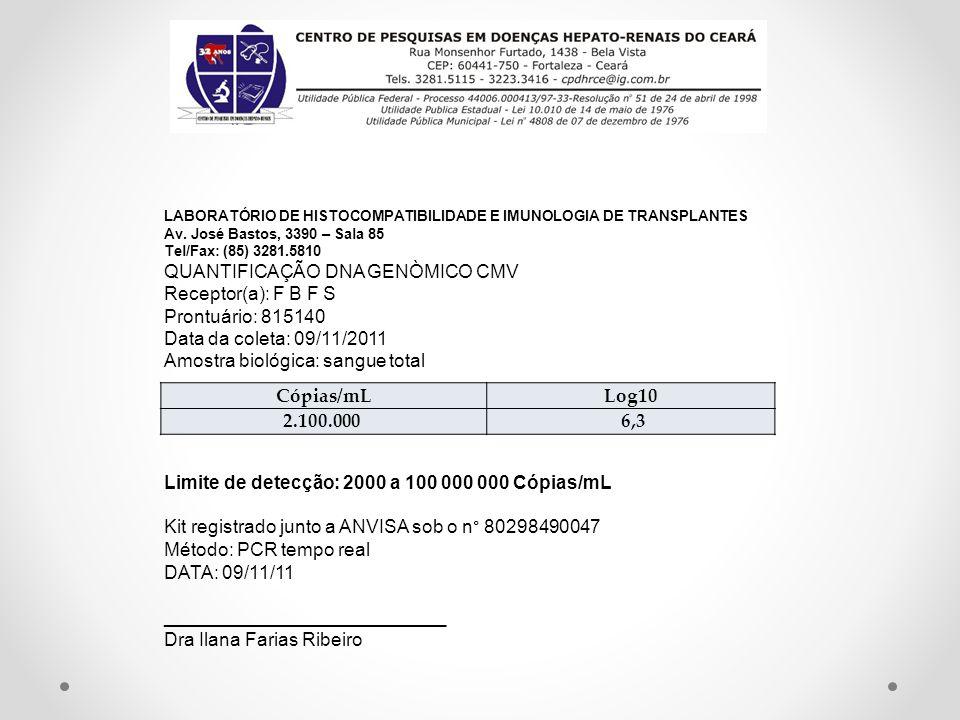LABORATÓRIO DE HISTOCOMPATIBILIDADE E IMUNOLOGIA DE TRANSPLANTES Av. José Bastos, 3390 – Sala 85 Tel/Fax: (85) 3281.5810 QUANTIFICAÇÃO DNA GENÒMICO CM