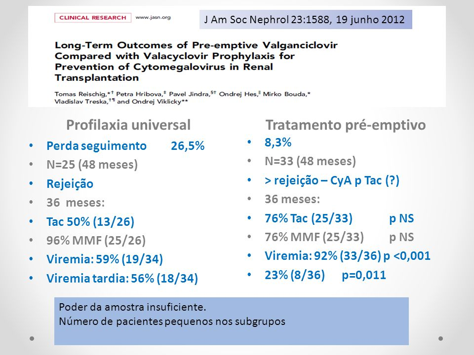 Profilaxia universalTratamento pré-emptivo Perda seguimento 26,5% N=25 (48 meses) Rejeição 36 meses: Tac 50% (13/26) 96% MMF (25/26) Viremia: 59% (19/