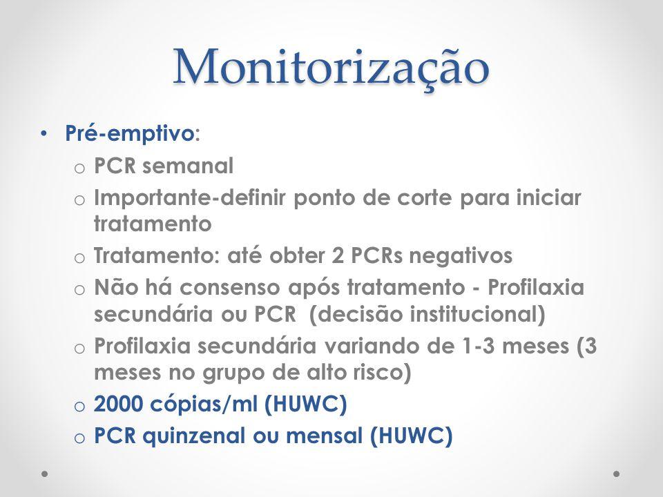 Monitorização Pré-emptivo: o PCR semanal o Importante-definir ponto de corte para iniciar tratamento o Tratamento: até obter 2 PCRs negativos o Não há