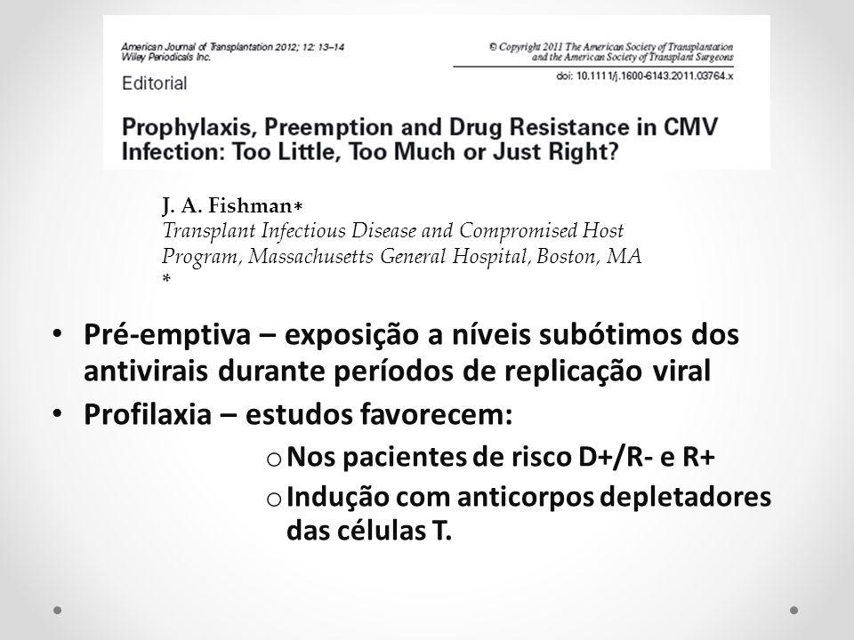 Pré-emptiva – exposição a níveis subótimos dos antivirais durante períodos de replicação viral Profilaxia – estudos favorecem: o Nos pacientes de risc