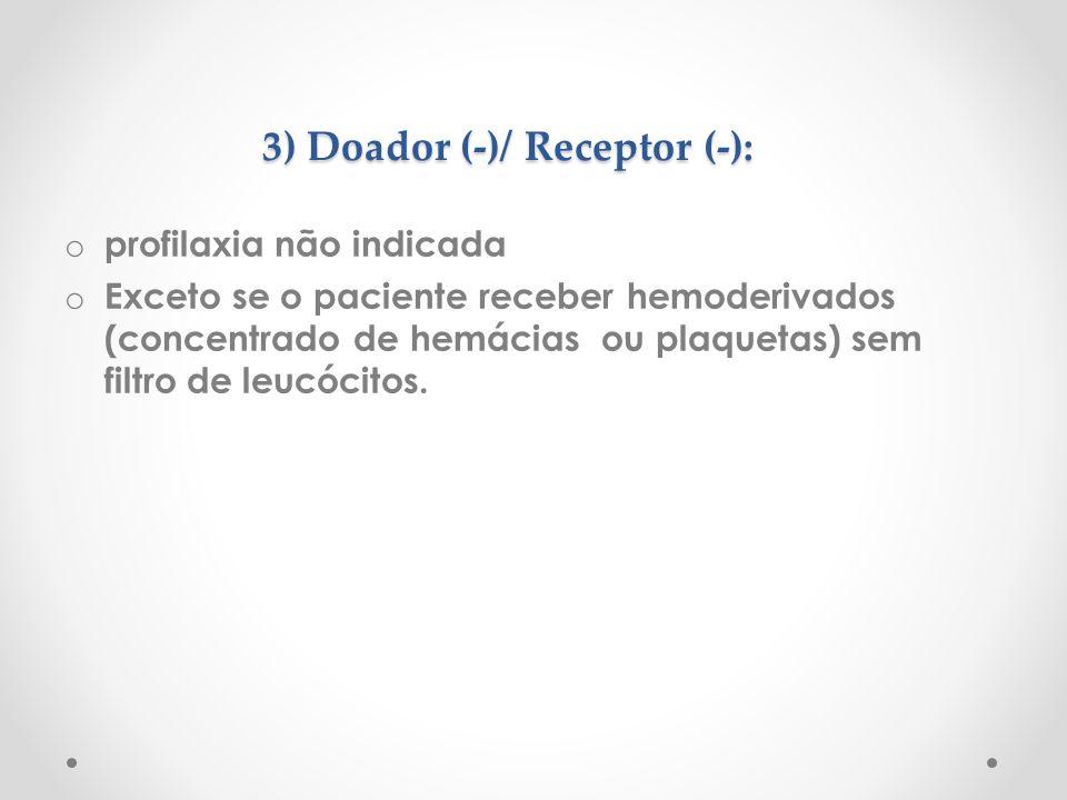 3) Doador (-)/ Receptor (-): o profilaxia não indicada o Exceto se o paciente receber hemoderivados (concentrado de hemácias ou plaquetas) sem filtro